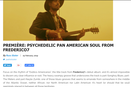 PREMIÈRE: PSYCHEDELIC PAN AMERICAN SOUL FROM FREDERICO7